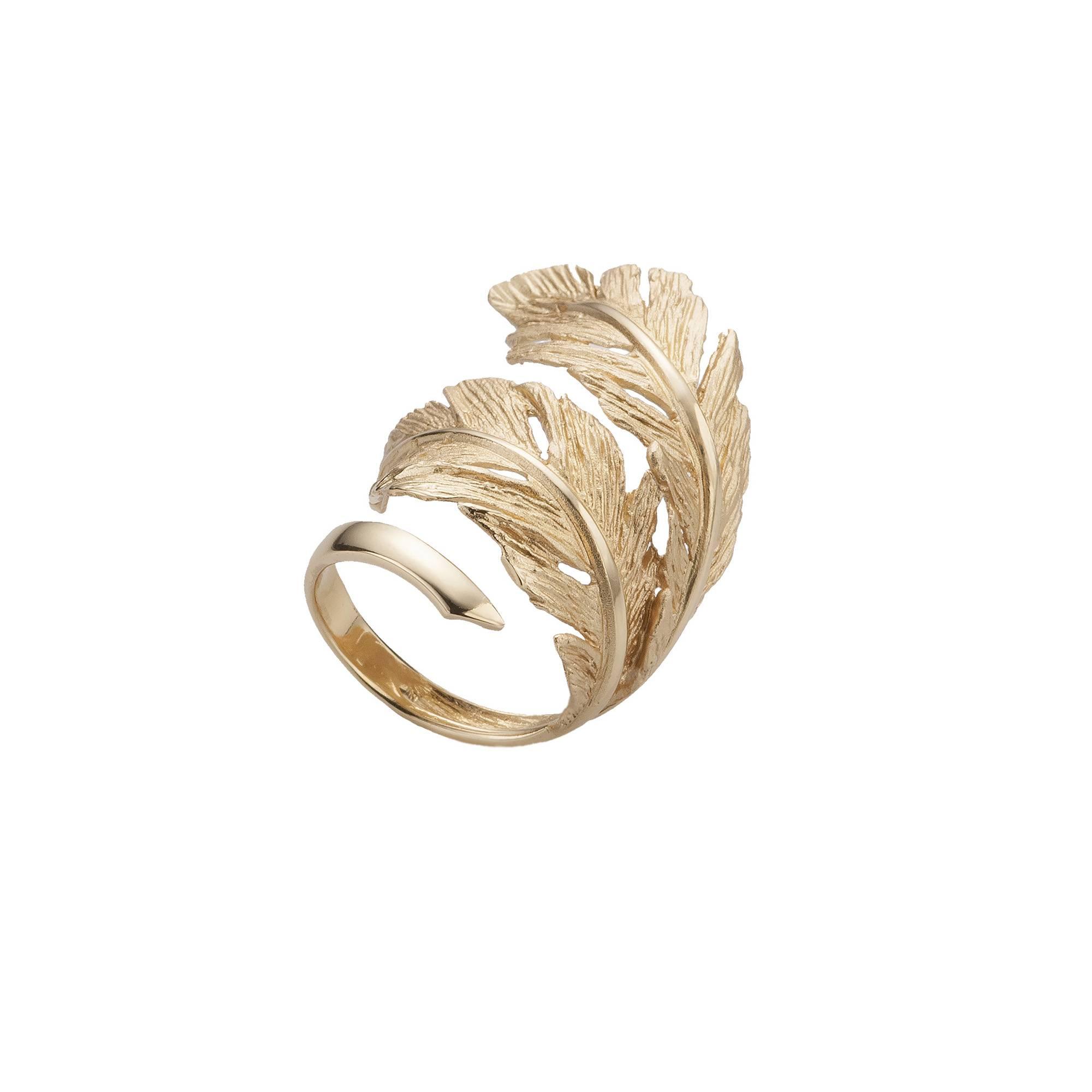 Кольцо Piuma mite из серебра 925 с покрытием желтым золотом, фото
